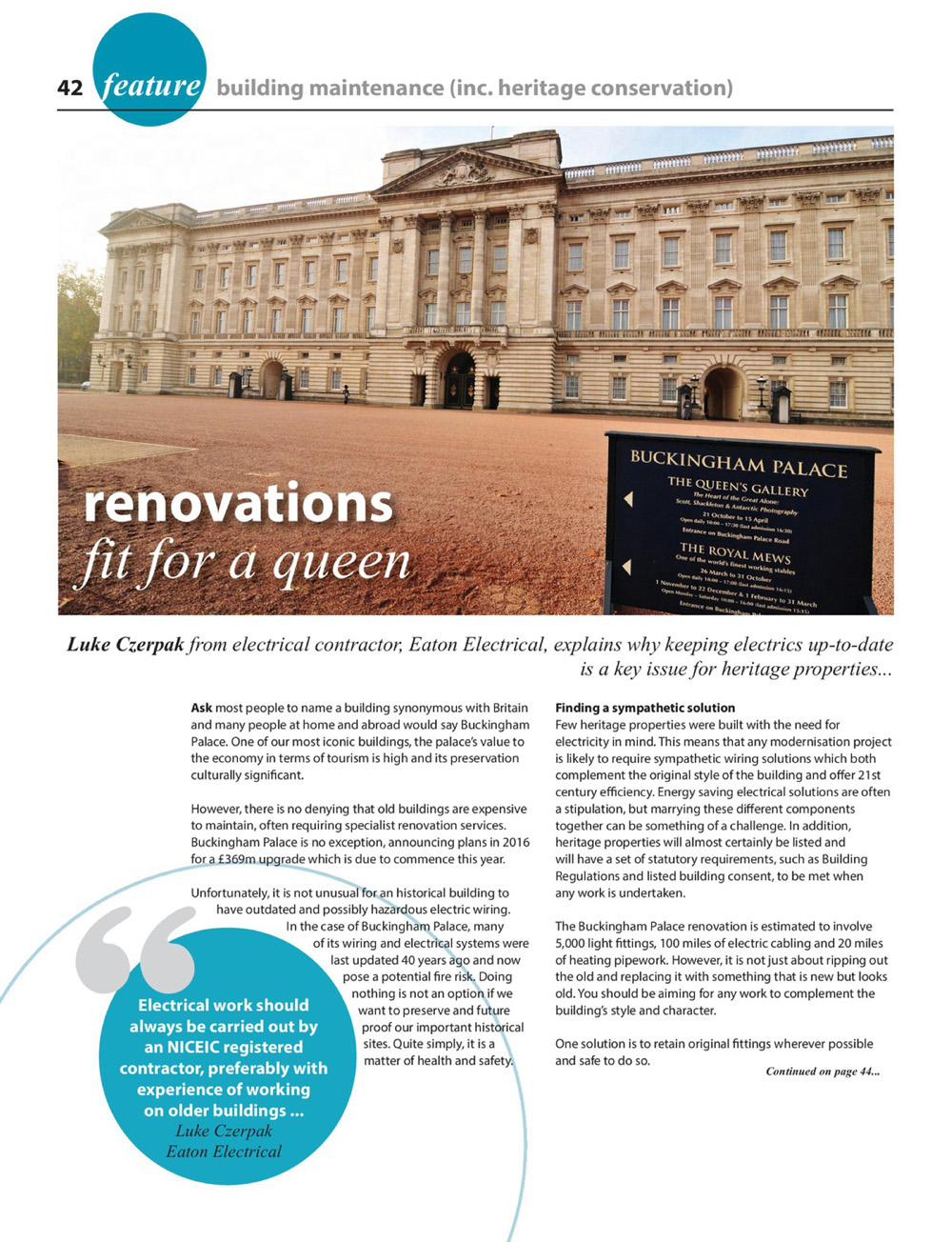 Article: Renovations fit for a queen - Eaton Electrical