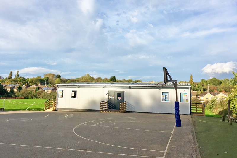 Completed temporary modular building at Leicester school
